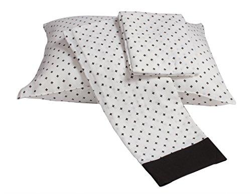 Bacati Plus Muslin 3 Piece Toddler Bedding Sheet Set, Black by Bacati