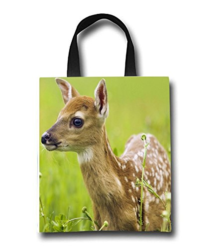 Baby Deer Beach Tote Bag - Toy Tote Bag - Large Lightweight Market, Grocery & Picnic by Linhong
