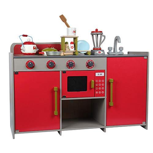 WAWJ para Ancianos de 3-10 años de Edad los niños Cocina Juguete de Madera de simulación de Gas y Estufa de Cocina...