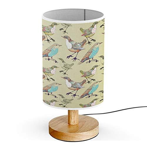 Queen Patterns Wood Base Decoration Desk Table Bedside Light Lamp (Forest Birds)