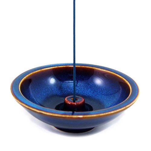 SHOYEIDO Atlantis Blue Round Ceramic Incense Holder