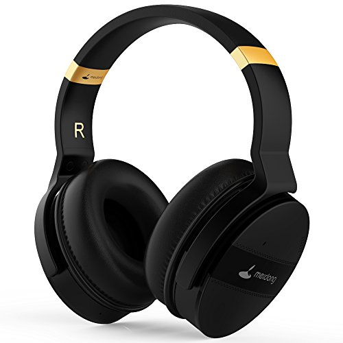 Meidong E8 Active Noise Cancelling Headphone Bluetooth Headphones with Microphone Hi-Fi Deep Bass Wireless Headphones Over Ear 20 Hour Playtime for Travel/Work/TV/Computer/Cellphone – Black