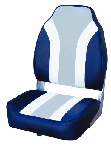 Back Boat Vinyl Seat (Wise Classic Stripe High Back Boat Seat, Navy-White-Grey)
