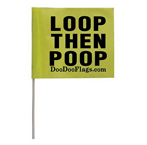 3″ x 2.5″ Flags x 10 | Sign Reads: Loop Then Poop | BRB Flag | Be Right Back for Poop Bag | Dog Poop Bag Flags | Trail Dog Poop Bag Flag | Poop Bag Disposal