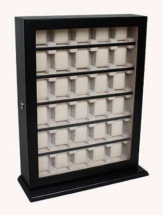 SchÖne 1 A QualitÄt ist die Uhrenbox Black von Woolux fÜr die Wand fÜr 30 große Uhren mit Sichtfenster