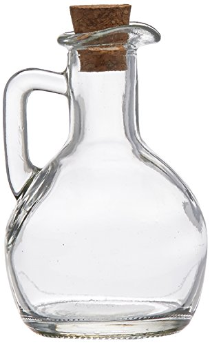 Grant Howard Pot Belly Glass Cruet with Cork Top and Handle, 200ml, Clear by Grant Howard