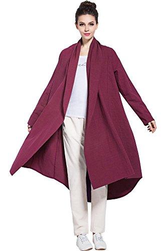 Anysize Soft Linen Cotton Cardigan Spring Fall Winter Coat Plus Size Clothing Y80