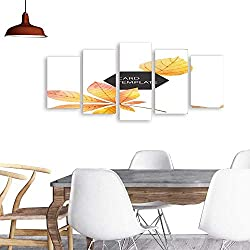 UHOO 5 Piece Wall Art Painting PrintWatercolor Autumn Vector Card Template Design of Leaves and Branches Isolated on White Background 6.odern Decoration Living Room