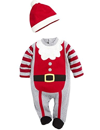 MowMee Baby Girls Boys Christmas Set Long Sleeve Romper,Boy Cap Girl's Hairband 2 pcs