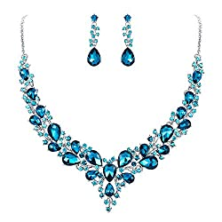 Austrian Crystal Teardrop Cluster Necklace/Earrings Set