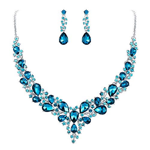 (BriLove Wedding Bridal Necklace Earrings Jewelry Set for Women Austrian Crystal Teardrop Cluster Statement Necklace Dangle Earrings Set Sky Blue Silver-Tone)
