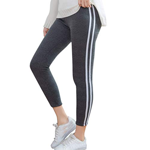 Ladies Stripe Printing Elastic Force Exercise Fitness and Running Yoga Pants Dark Gray