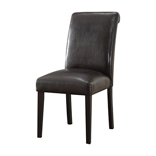 Acme Furniture ACME Gregory Espresso Faux Leather Side Chair Set of (Upholstered Sleigh Back Chairs)