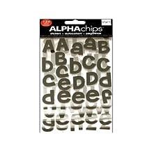 me & my BIG ideas CBVP-44  Alpha Chips Designer Chipboard Letter Stickers, Cheri Alphabet Black Glitter