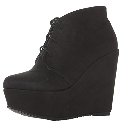 Ladies Womens Black Suede High Heel Wedges Shoes Platform Ankle Wedge Boots Size 3-8 Style 11 - Black 7lZ94BWfl