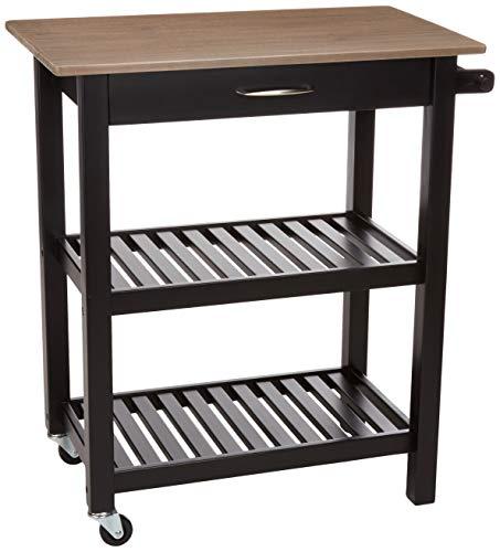 - AmazonBasics Multifunction Island/Kitchen Cart with Open Shelves - Reclaimed Grey and Black