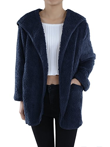 Hooded Wrap Jacket - Anna-Kaci Lounge & Chill Hooded Fluffy Fleece Comfy Soft Teddy Coat Jacket, Navy, Small/Medium