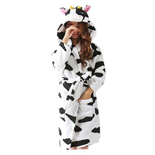 Casa Unisex Winter-Erwachsenes Tier mit Kapuze Flanell Bademantel Nachthemd Cosplay Wickeln Morgenmantel Halloween Costume Milchkuh