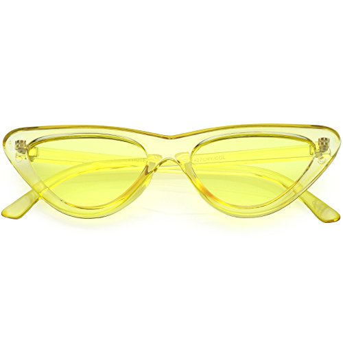 sunglassLA - Women's Extreme Translucent Cat Eye Sunglasses Color Tinted Flat Lens 51mm (Yellow) from sunglassLA