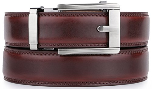 Mio Marino Ratchet Belts for Men - Genuine Leather Dress Belt - Automatic Buckle (Square Chrome Open Buckle W Mahogany Leather, Adjustable from 28