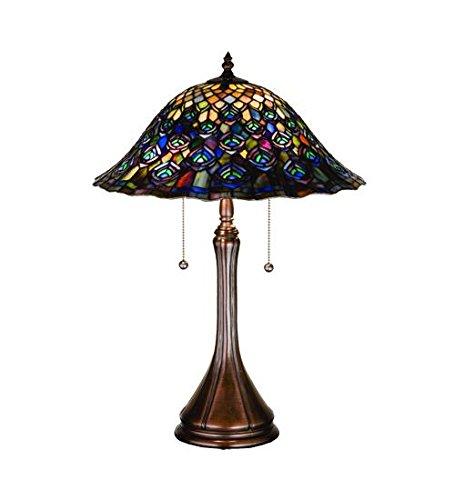 (Meyda Tiffany 14574 Peacock Feather Table Lamp, 22