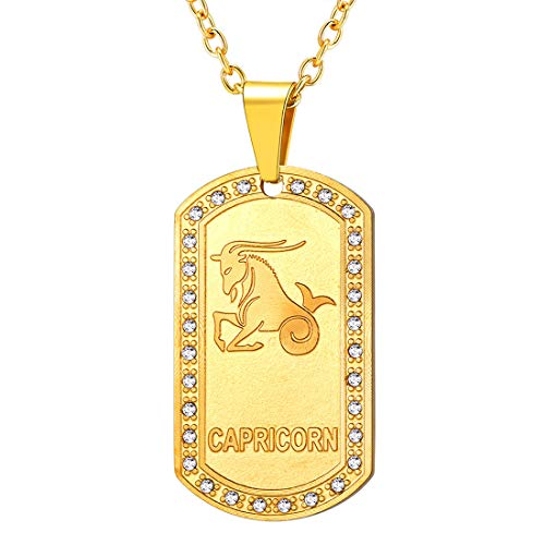 U7 Men Women 12 Zodiac Constellation Horoscope Jewelry 18K Gold Plated Cable Rolo Chain 22 Inch Rhinestone Inlaid Iced Out Birth Zodiacs Star Signs Dog Tags Necklace Pendant-Capricorn(12.21~1.20)