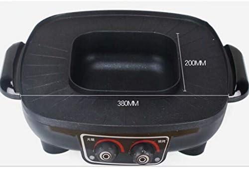 SJZD Barbecue coréen Hot Pot Double Pot, 110V / 1600W Multifonctionnel Cuisson Électrique Cuisinière Intégrée, Hot Pot Électrique De Table Gril Électrique Et Fondue