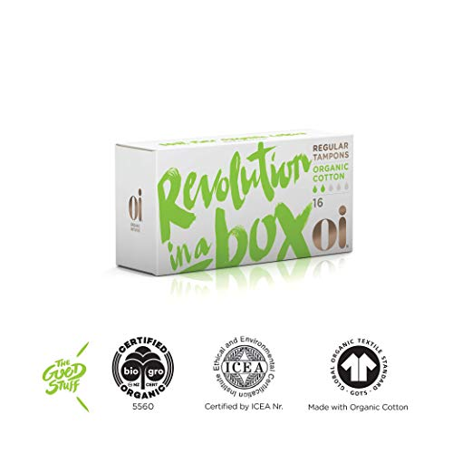 Oi Certified Organic Cotton Tampons | Box of 16 Regular Tampons | ()