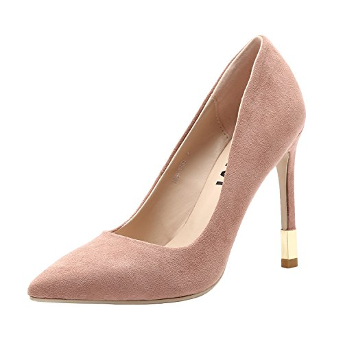 VI&VI Vivi Ladies Sexy High Heel Leather Pink Pointed Toe Pumps Shoes for Girls Party Dress Size 7 - Kid Suede High Heels