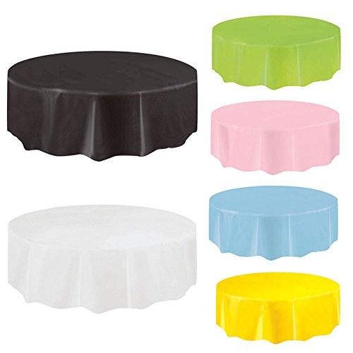 4x Disposable Tablecloth Round, PEVA Plastic Reusable Table Covers for Parties/Event 84'' Black 84' Round Plastic Tablecloths