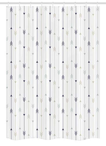 Ambesonne Arrows Stall Shower Curtain, Vertical Geometric Monochrome Hipster Line Pattern With Vintage Arrows, Fabric Bathroom Decor Set with Hooks, 54 W x 78 L Inches, Dimgrey Tan and - Curtain Shower Hipster