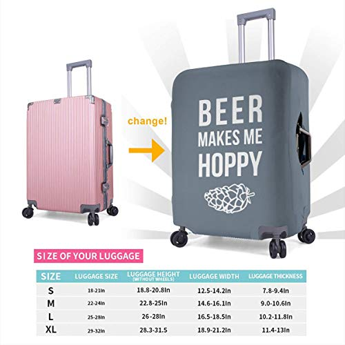 Travel Luggage Cover Beer Makes Me Hoppy 3d Suitcase Protector Baggage Covers With Zipper, Washable L