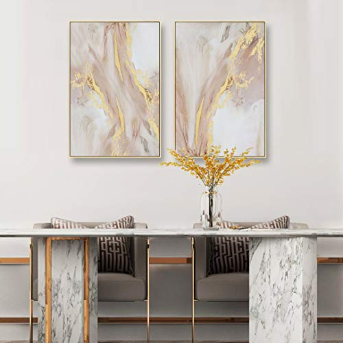 Glitter Wall Art (ARTLAND Framed Pink Abstract Oil Painting on Canvas with Gold Glitter Marble Accented Wall Decor Picture for Living Room and Bedroom Home Decoration Ready to Hang 24x32)