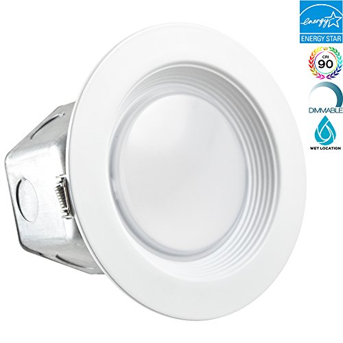 10 Piece 1 Light (Luxrite 4 Inch Junction Box LED Downlight, 10W (60W Equivalent), 4000K Cool White, ENERGY STAR, 780 Lumens, Wet Rated, Recessed Ceiling Light, 120-277V, No Can Needed, ETL Listed, 1-Piece)