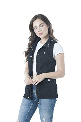 (Khanomak Sleeveless Zip Up Anorak Vest Jacket (Medium, Black))