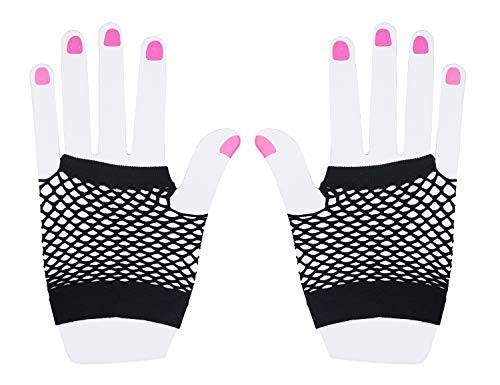Floranea 2 Pairs Fingerless Fishnet Gloves Women Black 80s Retro Vintage Nylon Stretchy Mesh Gloves for Kids Girls Dance Disco Costume Parties Supplies Accessories -