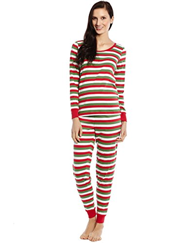 Leveret Womens Pajamas Fitted Striped 2 Piece Pajama Set Top & Pants (X-Small, Green/Red/White)