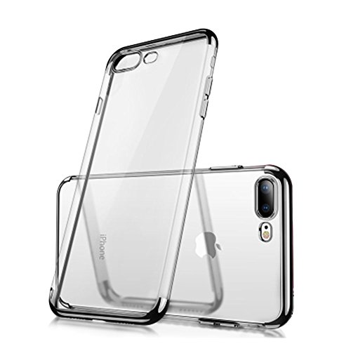 iPhone 7 8 Clear View TPU Case With Screen Protector,Aearl Slim Fit Silicone Soft Transparent Cover Plating Electroplating Edge Shockproof Protective Frame Bumper For Apple iPhone 8 7-Black