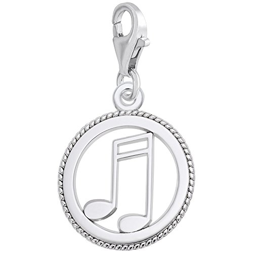14k White Gold Music Charm With Lobster Claw Clasp, Charms for Bracelets and Necklaces