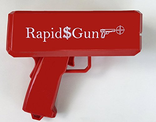 RapidGun Money Gun - Cash Cannon Toy - Make it Rain Real Money Dispenser - Supreme Dollar Shooter - Paper Money Spray + 200 Prop Money + 2 Sets of Battery (Total 4 AA) Free included (1, Red) by Rapid$Gun