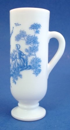 Vintage Avon Blue & White Toile Design Milk Glass Footed Demitasse Cup