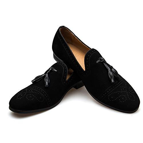 Men's Vintage Velvet Metal Loafers Shoes Slip-on Loafer Smoking Slipper (9 D M US, BLACK-01)]()