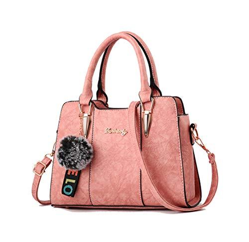 Xiuy Donna Borse a Mano Vintage Pu Borse Messenger Personalizzati Borse Spalla Metallo Accessori Borse Da Lavoro Unicolor Borse Secchiello Fashion Borse Shopper Classici Pink