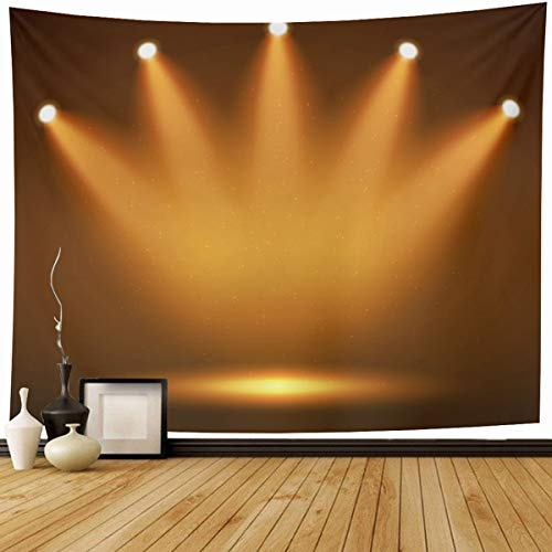 Ahawoso Tapestry Wall Hanging 60x50 Clubbing Yellow Light Spotlight On Stage Your Abstract Orange Fame Hall Celebration Dark Reveal Home Decor Tapestries Decorative Bedroom Living Room Dorm