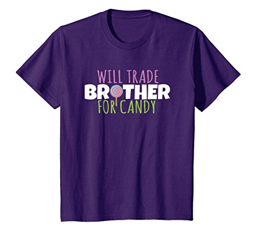 Kids Will Trade Brother for Candy T-Shirt Halloween Costume Tee 8 Purple -