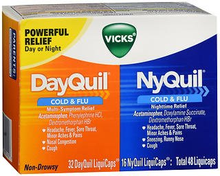 Vicks DayQuil/NyQuil Cold & Flu Multi-Symptom/Nighttime Relief LiquiCaps - 48ct, Pack of 6