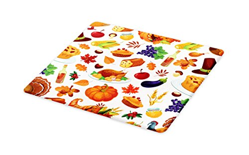 Thanksgiving Glass (Lunarable Thanksgiving Cutting Board, Food Abundance Autumn Harvest Traditional Celebration Dinner Pattern, Decorative Tempered Glass Cutting and Serving Board, Large Size, Multicolor)