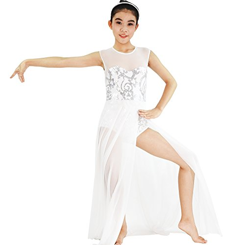 MiDee Lyrical Dress Dance Costume 4 Colors Floral Sequin Tank Leotard Maxi Skirt (MA, White)