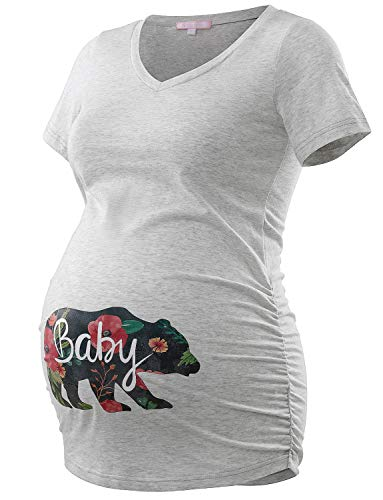 Bhome Maternity T Shirt Casual V Neck Side Ruched Short for sale  Delivered anywhere in USA