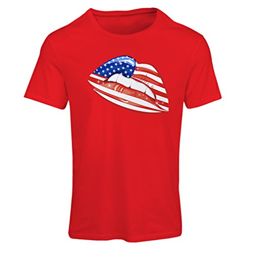 T Shirts For Women Patriotic USA Lips- American Flag Clothing (Large Red Multi - Terrier T-shirt History